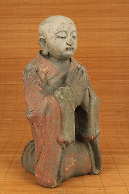 Vintage Big chinese old Wood Hand Carved Buddha Kneel Statue Figure collectable
