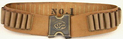 Replica Old West 45-70 Tan Web Cartridge Belt w/ Teddy Roosevelt DOG HEAD Buckle