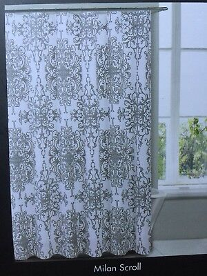 Tahari Fabric Shower Curtain Milan Scroll Gray On White Paisley Medallion Toile