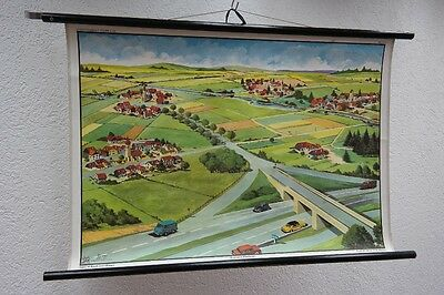Old Large Teaching Board Road & Dorftypen, Wall Map, Role Map, Vintage, Decor