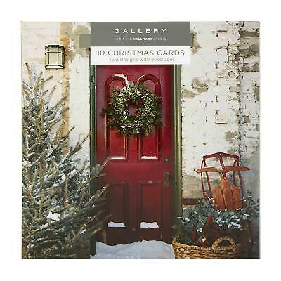 2 Designs Hallmark Gallery Christmas Card Pack Red and Green 10 Cards