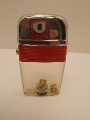 Vintage SCRIPTO Vu-Lighter~Red Band w/Dice Inside Clear Plastic Fuel Tank~ca 50s
