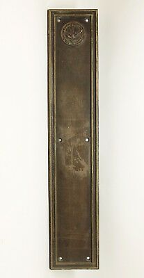 Antique Elks Club Bronze Push Plate