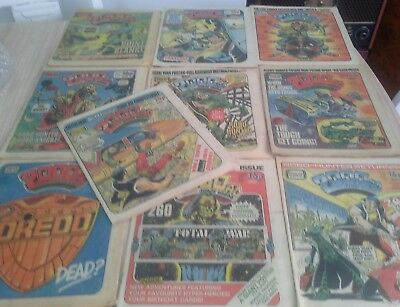 1982 job lot 10 2000AD Comics featuring judge dredd