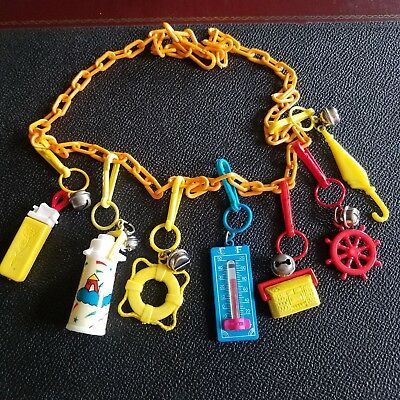 Vtg Plastic 80's Bell Clip Charm Necklace Lighter Thermos Radio Thermometer HTF