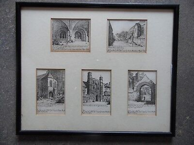 1793 Five Etchings Canterbury Cathedral Views, by John Carter. Listed. Framed