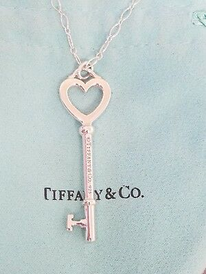 "Tiffany & Co Sterling Silver Large 2"" Heart Key Necklace 16"" Oval Chain w/ Pouch"