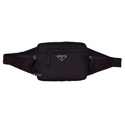 4a91c0b53f1f NWT $840 PRADA Men's Black Nylon Metal Logo Waist Bag Fanny Pack Belt  AUTHENTIC