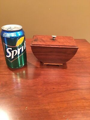 Vintage Desk top Wood Inlay Tobacco Holder With Lid