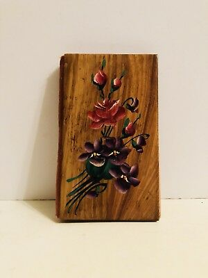 Vintage Wooden Sewing Needle Booklet Case Hand Painted Flowers
