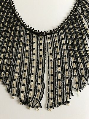 Vintage French Glass Bead Jet Black Fringe Trim Sewing Embellishment