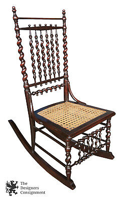 Antique 19th Century Cane Seat Rocking Chair Rocker Barleytwist Spindle Back