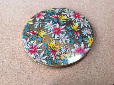 Vintage Vogue Vanities Floral Enamel Powder Compact
