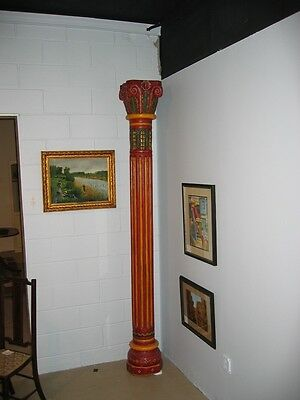 Pair 19c Indian Finely Carved Solid Wood Fluted Columns 8ft Tall Painted c1890