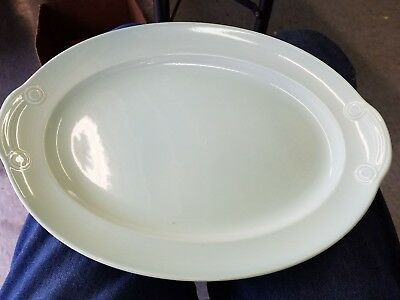 """Vintage TS&T LuRay Pastels USA  Green 13"""" Oval Serving Platter"""