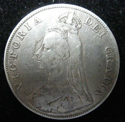 1887 Great Britain (UK) Double Florin Arabic 1 Silver Coin