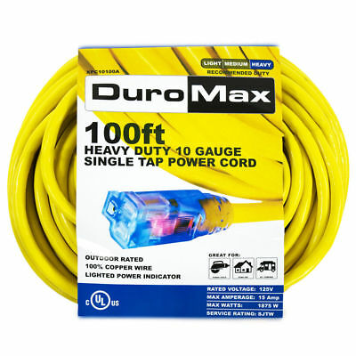 DuroMax Electric Power Cord 10 gauge 100ft Extention 15amp Out Door Cable Indoor