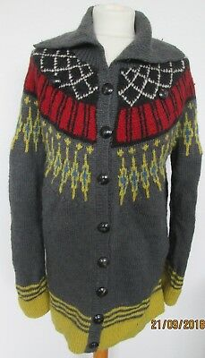 PEOPLE TREE for TOPSHOP. Hand knit, Fairisle/Nordic cardigan. Size L.