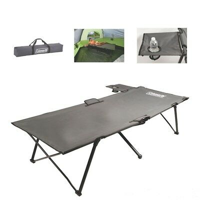 Extra Wide Pack-Away Folding Steel Frame Cot with Removable Side Table