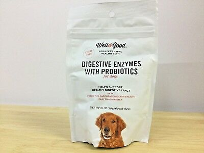 Well & Good Digestive Enzymes w/ Probiotics for Dogs 60 Soft Chews Exp. 01/2019+