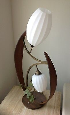 Vintage Mid Century Modern Retro Bent Wood Lamp with Heavy Ribbed Glass Shades