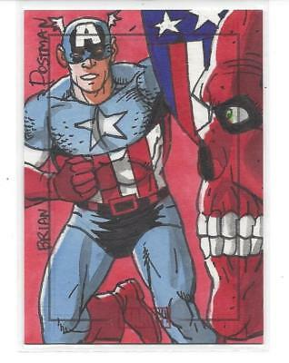 Marvel Heroes & Villains sketch - Captain America & Red Skull (by Brian Postman)
