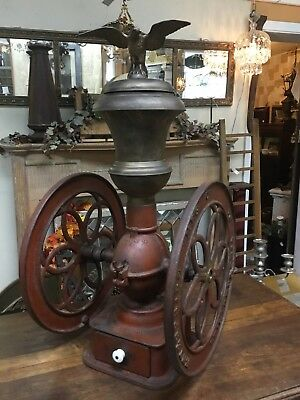 Antique Enterprise No. 6 Cast Iron Coffee Grinder Complete Brass Eagle