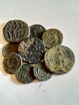096.Lot of 9 Ancient Roman Bronze Coins,3X Big Follis
