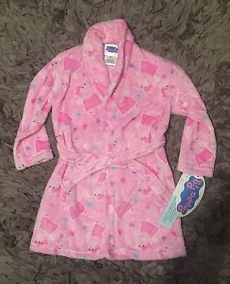 Peppa Pig Toddler Girls Fleece Robe, Character Print, Size 2T/3T, Pink