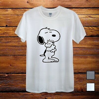Snoopy Dog Peanuts Charlie Brown Hug T-Shirt Men Unisex Women Fitted Gift Grey