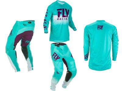 '19 Fly Racing LE Lite Hydrogen Seafoam Adult MX Gear Combo - Monster Energy Cup