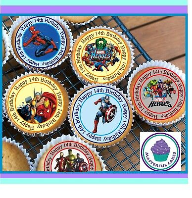 24 X Marvel Hero 14Th Birthday Edible Cupcake Toppers Wafer Paper,icing & Precut