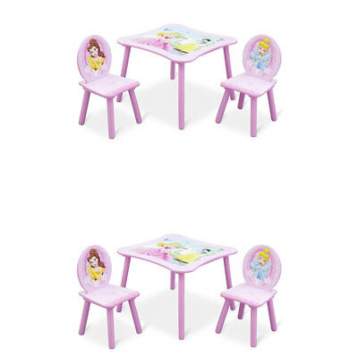Delta Children Disney Princess Wood Toddler Table and Chair Set, Pink (2 Pack)