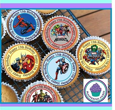 24 X Marvel Hero 15Th Birthday Edible Cupcake Toppers Wafer Paper,icing & Precut