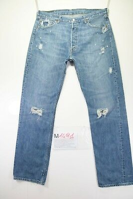 Levi's 501 Destroyed (Cod. M1491) tg50 W36 L34 jeans gebraucht hohe Taille