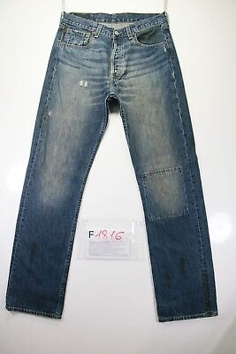 Levi's 501 (Cod. F1816)Tg46 W32 L34 jeans gebraucht hohe Taille customized