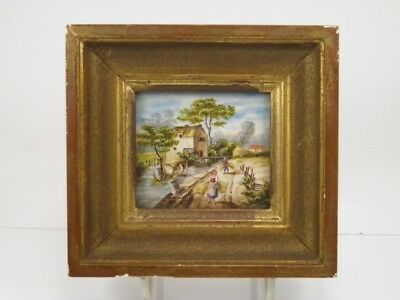 Antique early 20th century miniature oil painting river landscape with figures