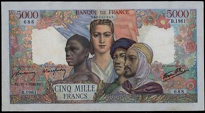 France 5000 Francs Empire Francais 28-3-1946 Vf Nice Large Size Banknote Watch!