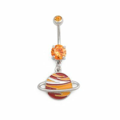 """14g 3/8"""" Blazing Saturn Dangle Belly Button Ring"""