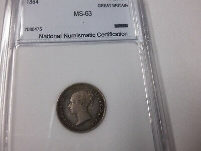 1864 Great Britain Victoria Silver 4 pence- Maundy