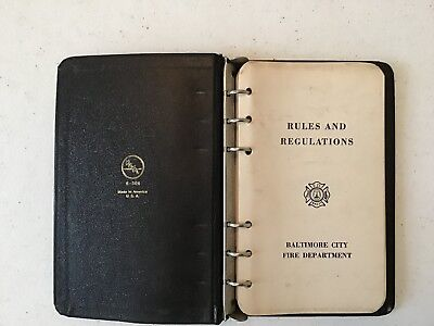 Baltimore City Fire Department Rules And Regulations Book 1966