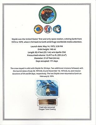 Space Flown Skylab  Crash Relic Mounted on a Framible Card Stock Certifacate