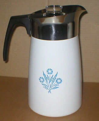 Vtg-Never Used-Corning Ware-Blue Cornflower-Stove Top Percolator-9 Cup-Complete!