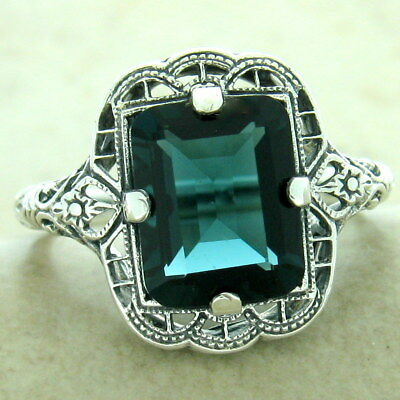 3 Ct London Blue Sim Topaz 925 Silver Art Deco Antique Finish Ring,        #1175
