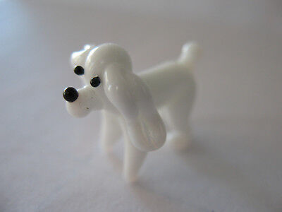 Miniature Blown Glass Dog Figurine Mini White Poodle Figure Animals Pets Puppy