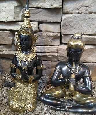 Brass mixed, Figures Asian  Indian Tibetan 2, male and female vintage
