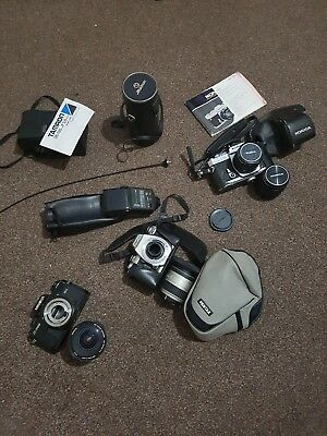 Joblot Of old vintage cameras and accessories. Cameras, lenses, flash ect