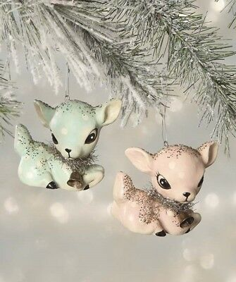 Bethany Lowe Pastel Fawn Baby Deer Christmas Ornament Set of 2
