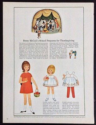 Vintage Betsy Mccall Vergrößerung Puppe, Betsy's Schule & Thanksgiving, Nov.1964