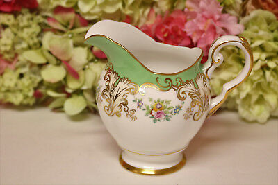 Tuscan Bone China, Gilt and Floral Large Milk Pitcher, Hand Painted
